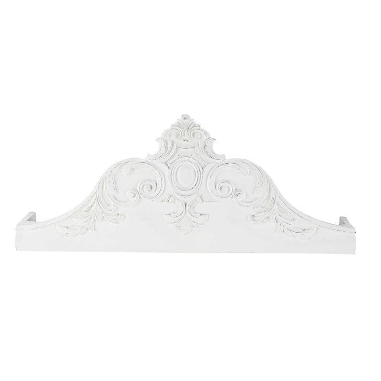 Ciel de lit sculpté en manguier massif blanc L 100 cm Médicis