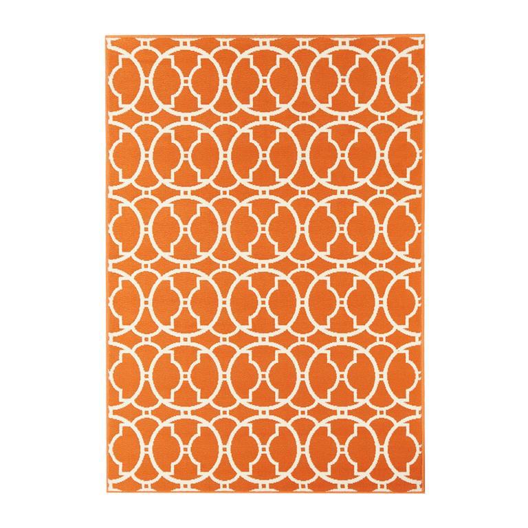 Tapis géométrique design en polypropylène orange 160x230