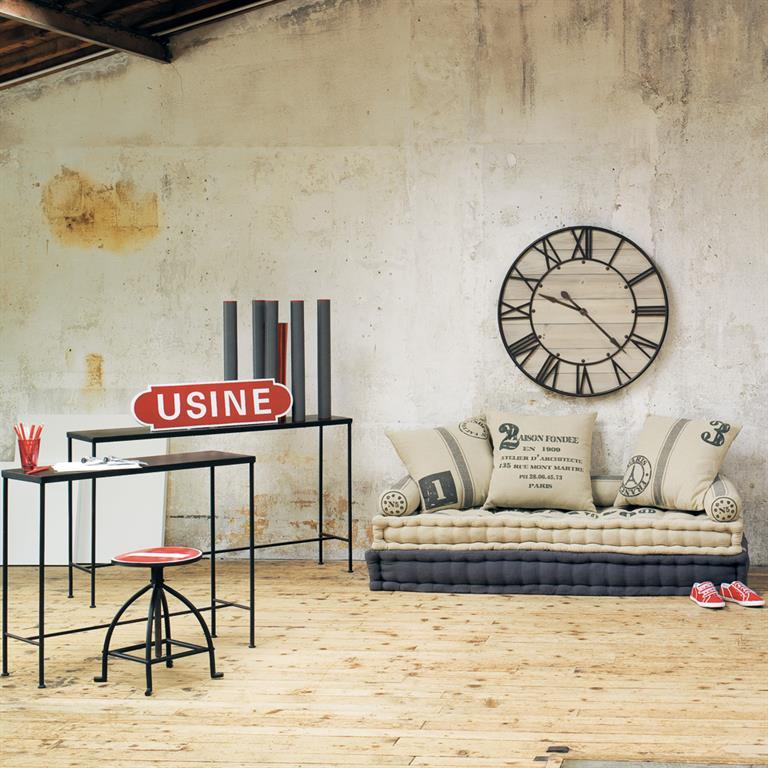 Banquette 3 places en coton beige et gris Factory Maisons du monde