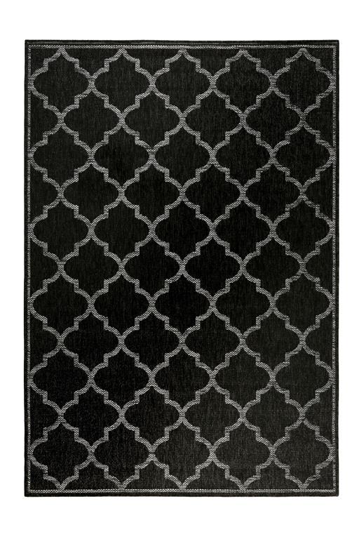 Tapis outdoor noir motif oriental gris pour entrée
