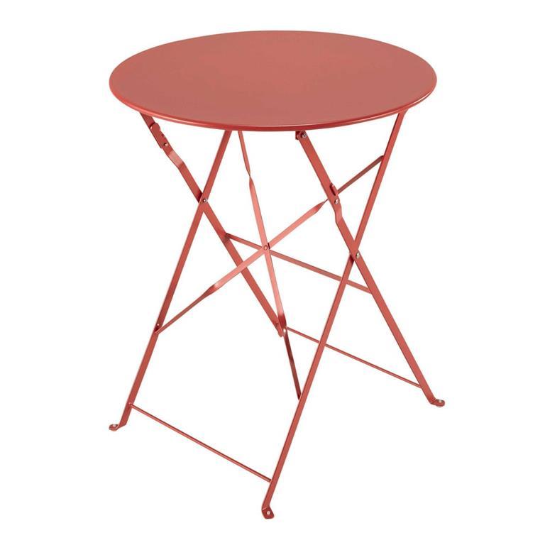 Table de jardin pliante en métal rouge framboise Guinguette