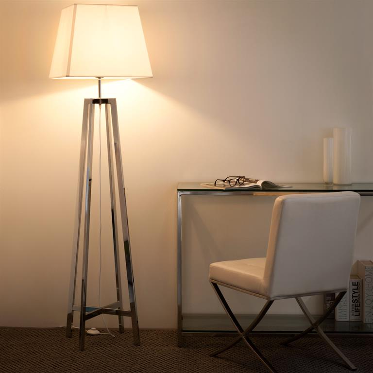 Lampadaire en métal et coton blanc H 171 cm NEWPORT