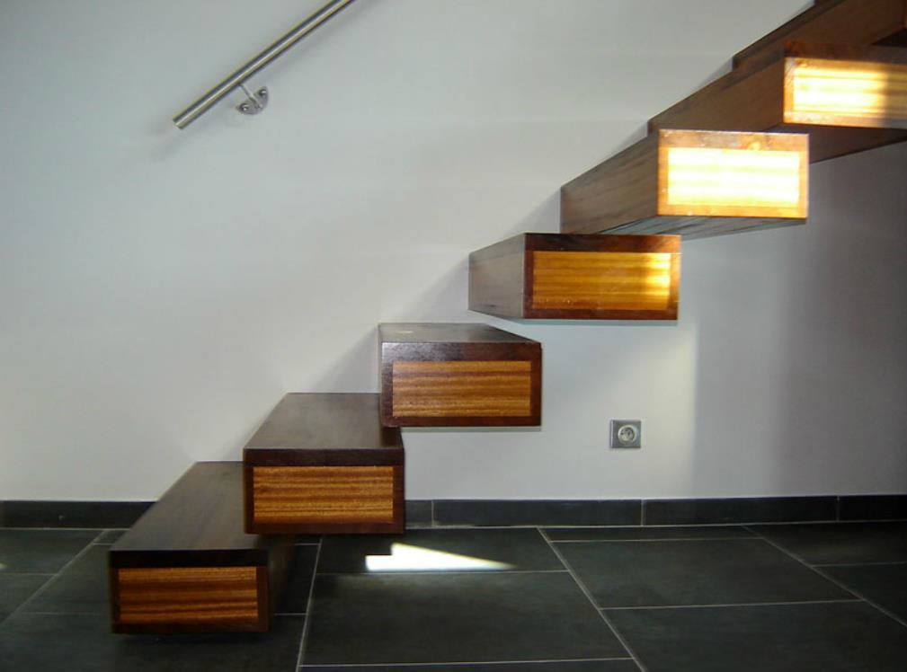 Escalier en bois grosses marches jean pierre gautier - Escalier design bois ...