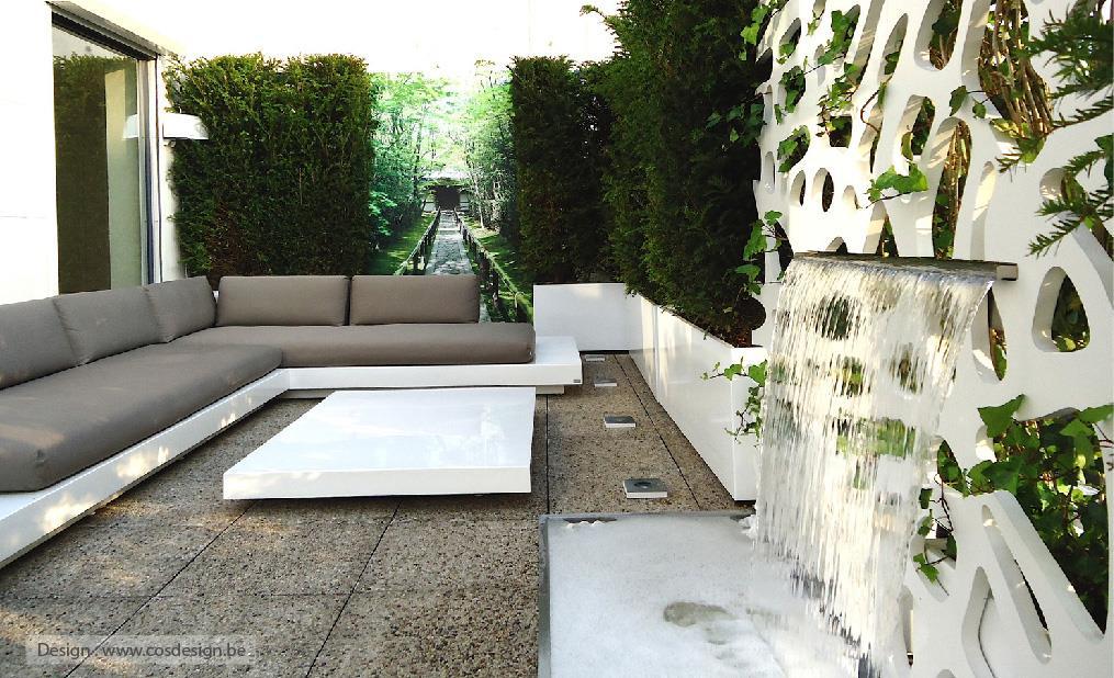 Image Espace lounge contemporaine en terrasse Création CJCJ - Bacs Image'In