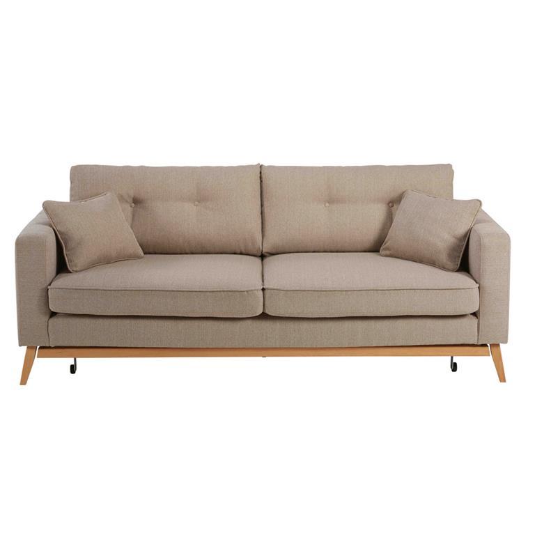 Canapé-lit style scandinave 3 places beige Brooke