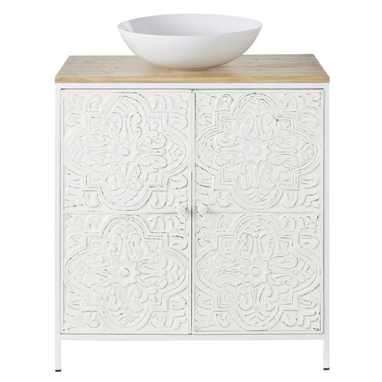 Meuble vasque 2 portes en manguier et feuilles de métal embossées blanches