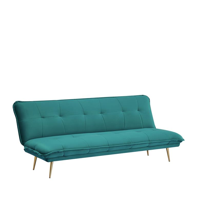 Canapé convertible en velours bleu canard
