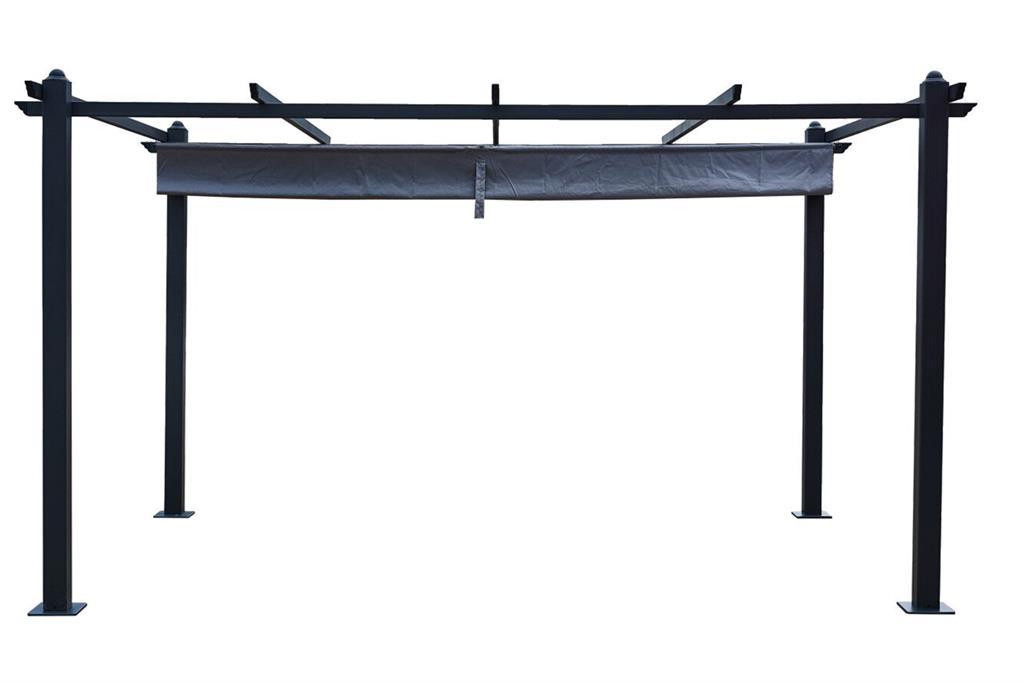Pergola auto-portée 3 x 4 m avec toile rétractable grise