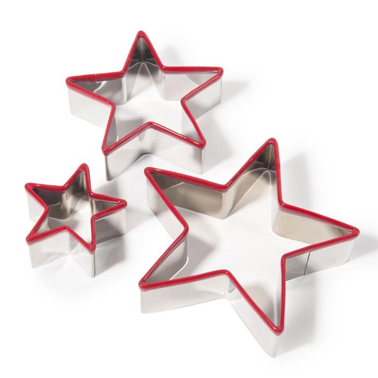 3 emporte-pièces étoile en inox argenté et rouge