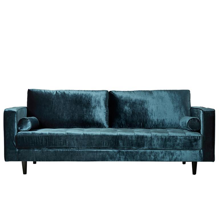 Canapé 3 places en velours bleu brillant métalisant