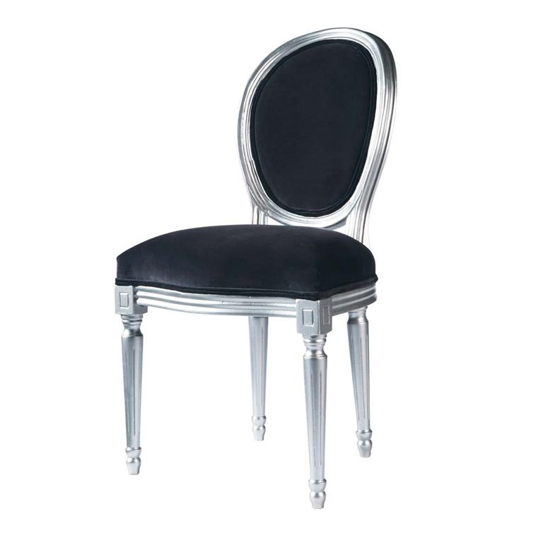 Chaise médaillon en velours gris et bois argent Louis