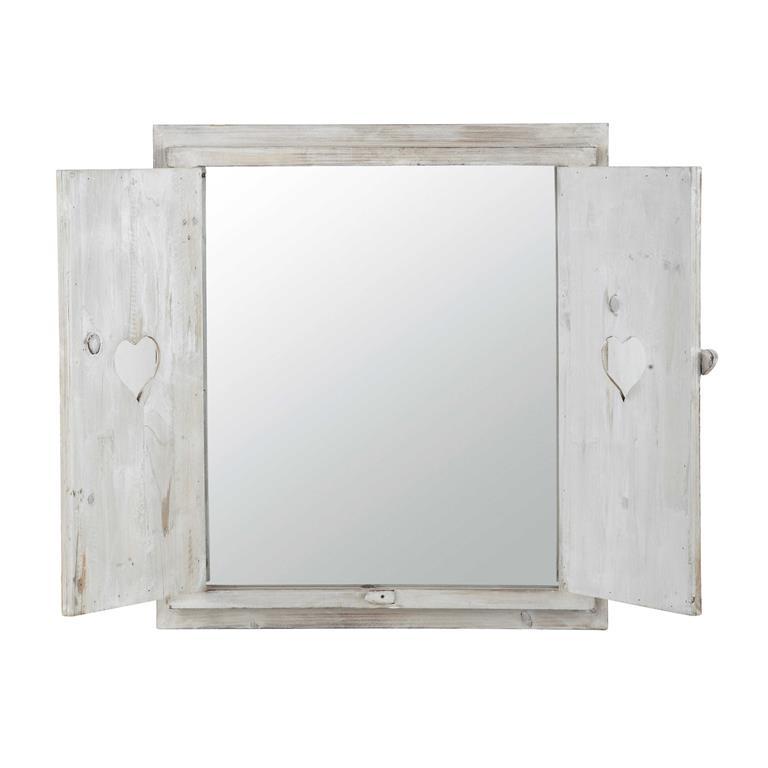 Miroir fen tre avec c urs en bois blanchi h 71 cm lucy for Miroir fenetre bois