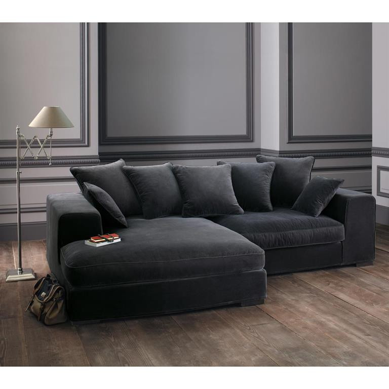 canap d 39 angle 4 places en velours gris bruges maisons du. Black Bedroom Furniture Sets. Home Design Ideas