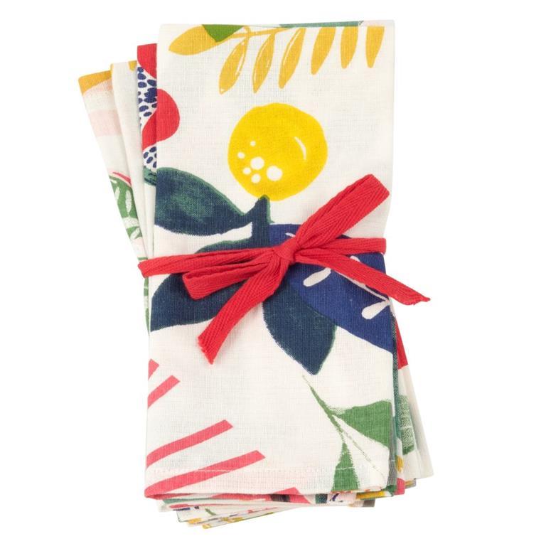 Serviettes en coton imprimé végétal multicolore
