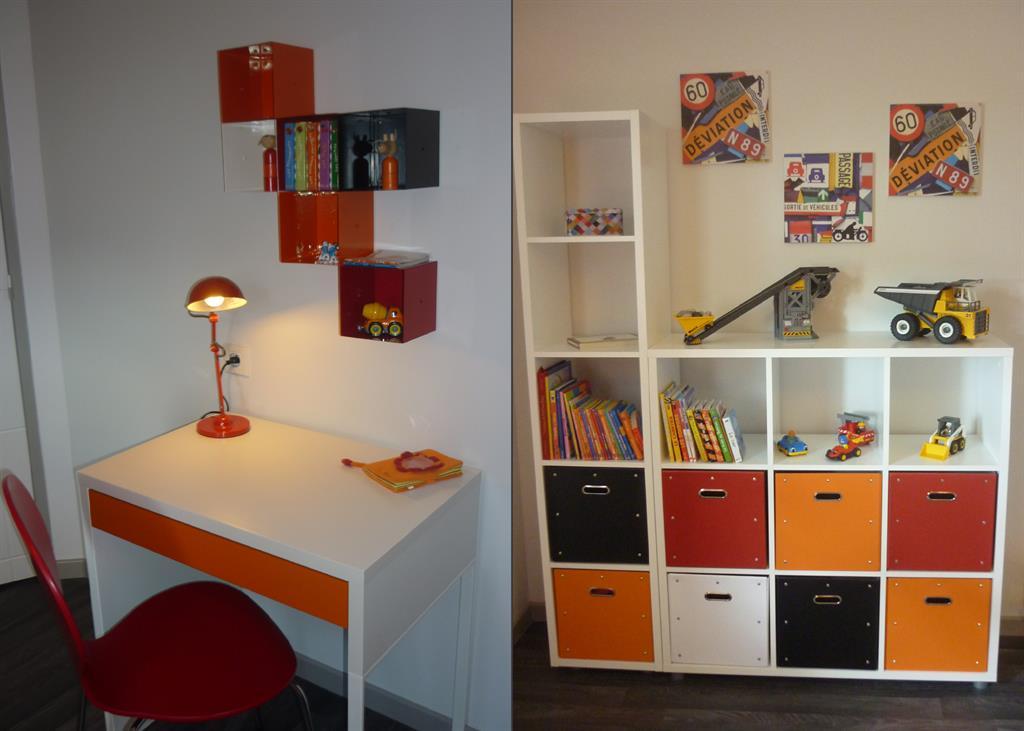chambre d 39 adolescent orange bureau et rangements. Black Bedroom Furniture Sets. Home Design Ideas