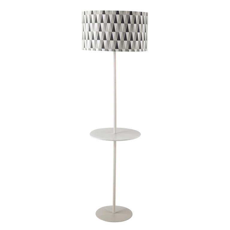 Lampadaire en métal et coton gris H 160 cm WAVE