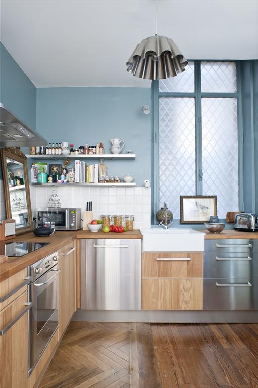 Cuisine Moderne Bois Et Bleu Clair Fusiond Photo N 56