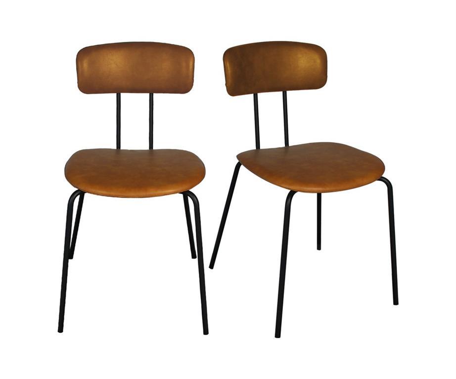 Lot de 2 chaises design en simili pieds métal MILO