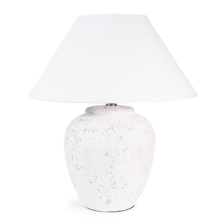 Lampe en céramique et tissu blanche H 40 cm BAPTISTO