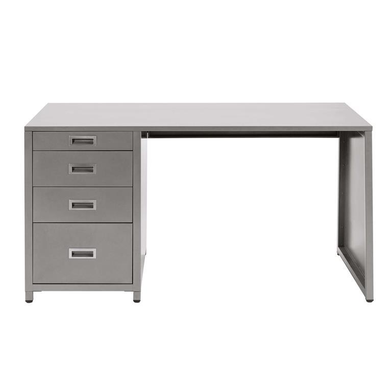 Bureau 4 tiroirs en métal gris Loft