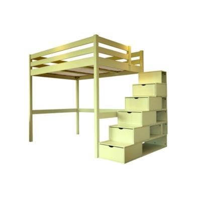 lit mezzanine sylvia avec escalier cube bois camif. Black Bedroom Furniture Sets. Home Design Ideas