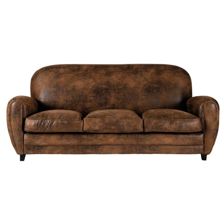 Canapé 3 places en microsuède marron Arizona