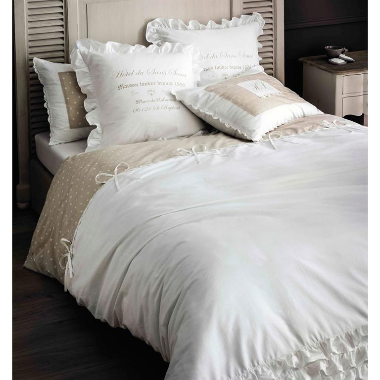 parure de lit en coton blanche 240 x 260 cm sans souci. Black Bedroom Furniture Sets. Home Design Ideas