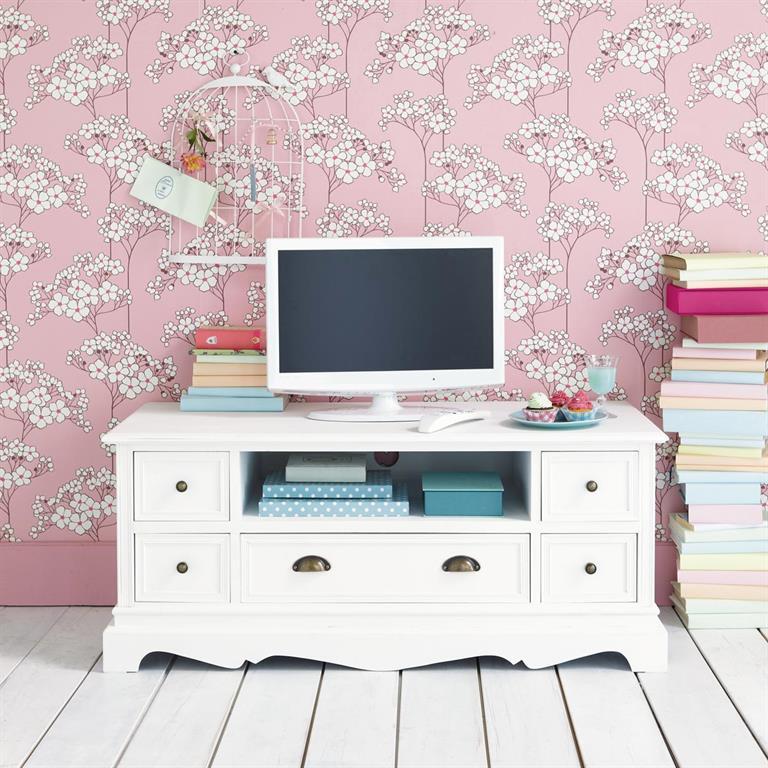 Meuble TV en bois de paulownia blanc L 117 cm Joséphine