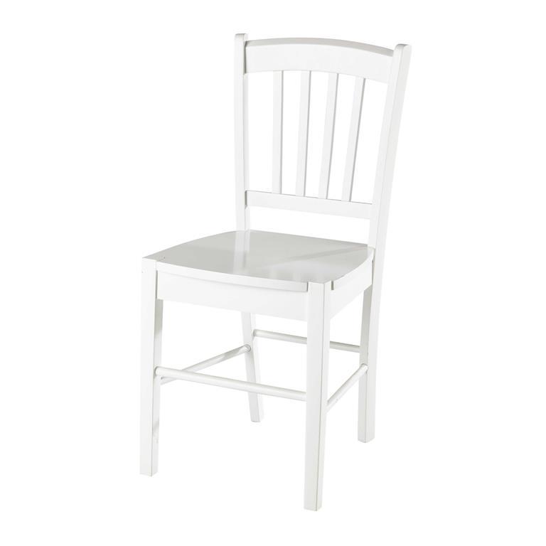 Chaise en hévéa blanc Marlie