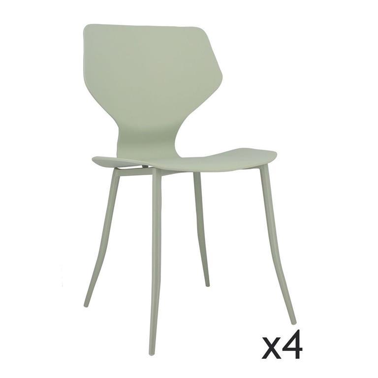 Lot de 4 chaises vert tilleul