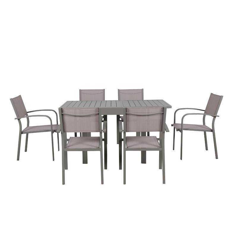 Table de jardin 6 personnes en aluminium gris
