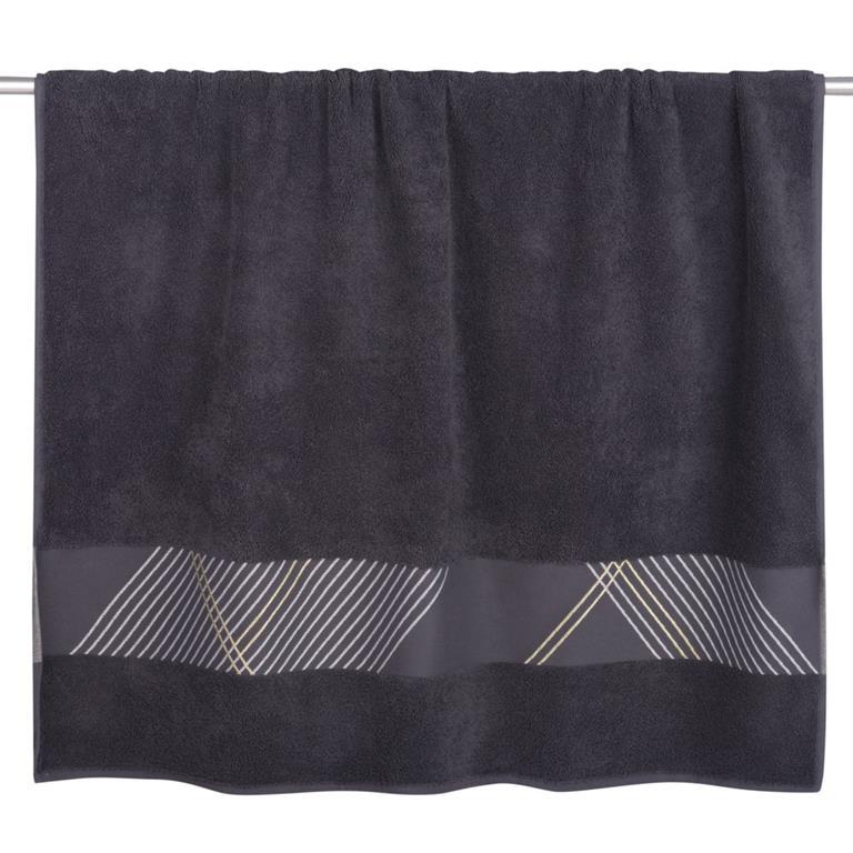 Drap de bain en coton gris motifs graphiques 100x150