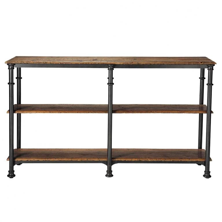 Table console en métal et bois massif recyclé noire L 160 cm Fontainebleau
