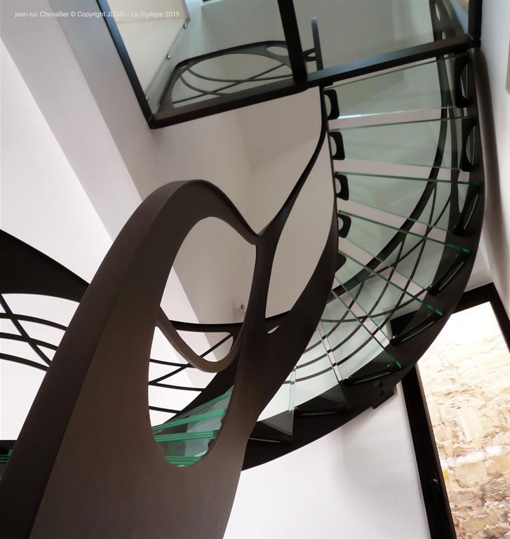 escalier design en verre 39 mozart 39 lastylique ref domozoom. Black Bedroom Furniture Sets. Home Design Ideas