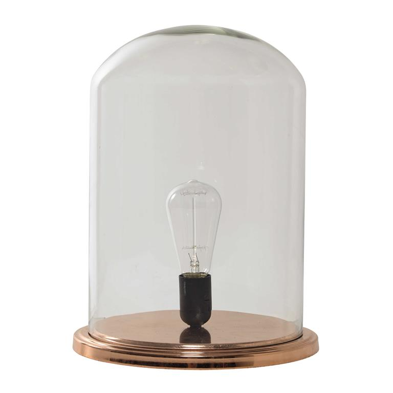 Lampe cloche en verre et métal cuivré H 38 cm ÉGLANTINE