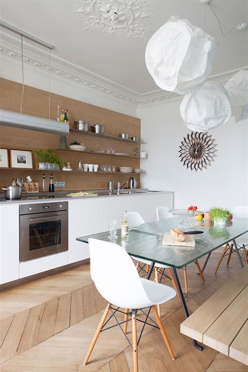 R novation appartement haussmannien tre cr atif sans - Idee cuisine americaine appartement ...