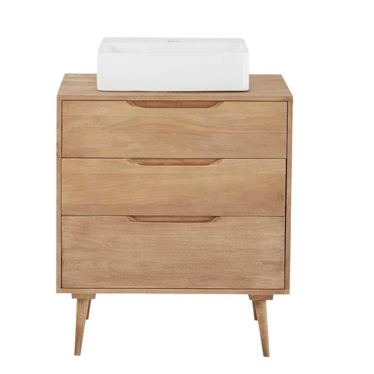Meuble vasque 2 tiroirs en manguier massif Trocadero