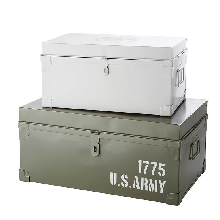 2 malles en métal vert/blanc