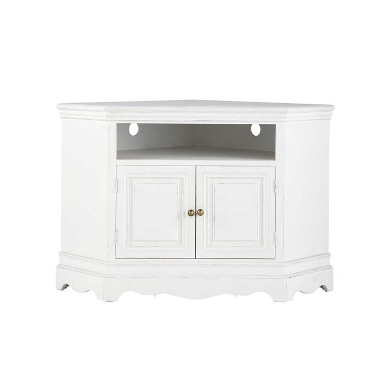 Meuble TV d'angle en bois de paulownia blanc L 105 cm Joséphine