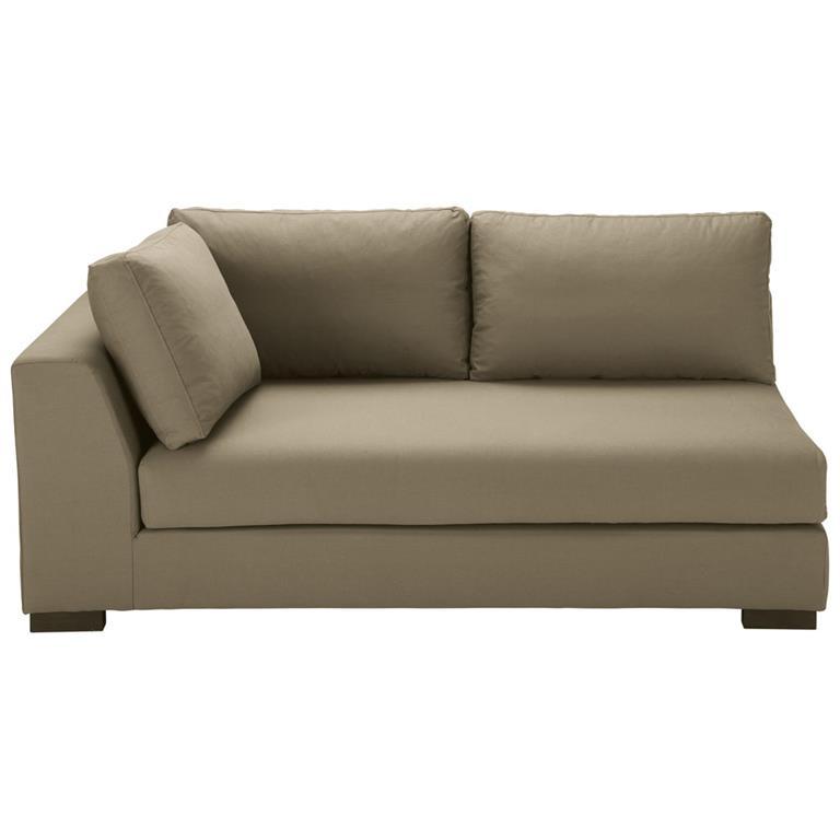 Angle gauche de canapé-lit en coton taupe Terence