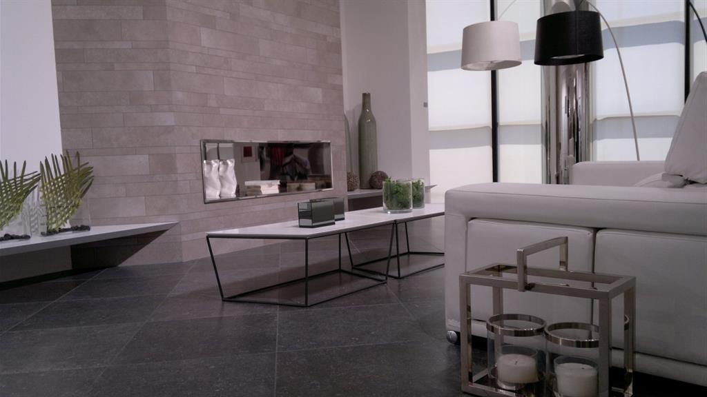 Salon très moderne avec fausse cheminée qui sert de rangement