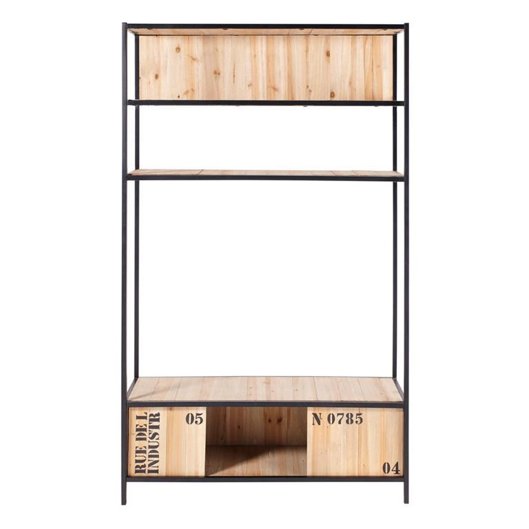 Meuble TV étagère indus 2 portes en métal noir et sapin Docks