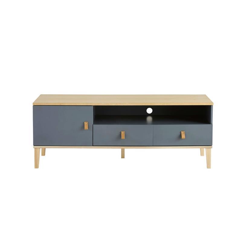 Meuble TV 1 porte 2 tiroirs gris Cléo