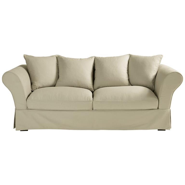 Canapé-lit 3/4 places en coton beige Roma