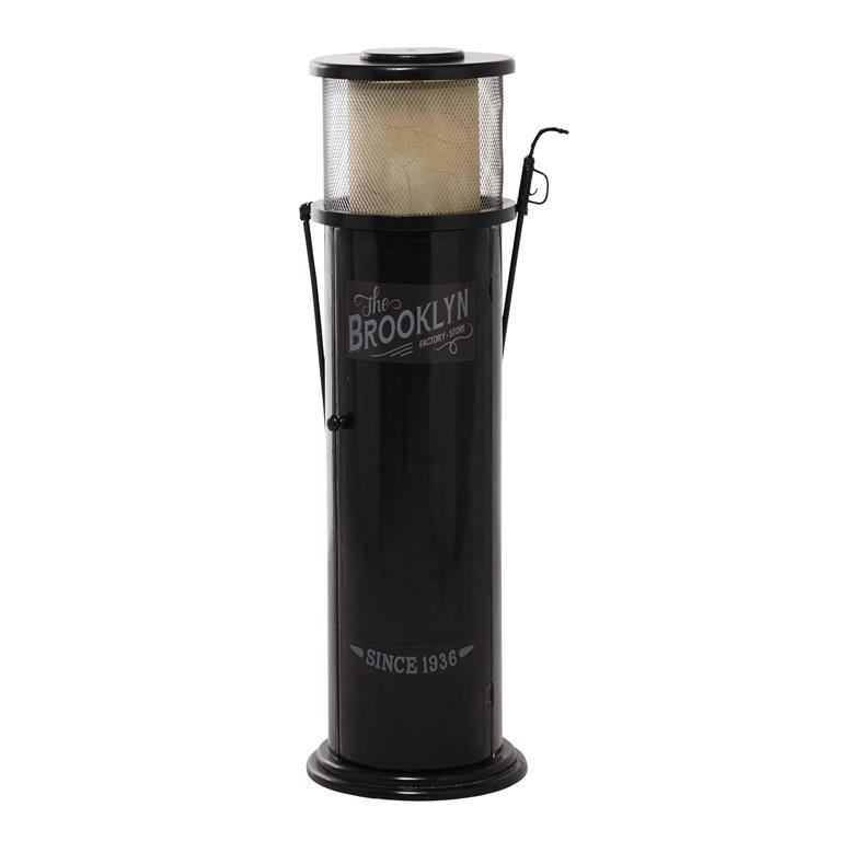 Lampe range CD  en métal et bois noire H 68 cm BROOKLYN
