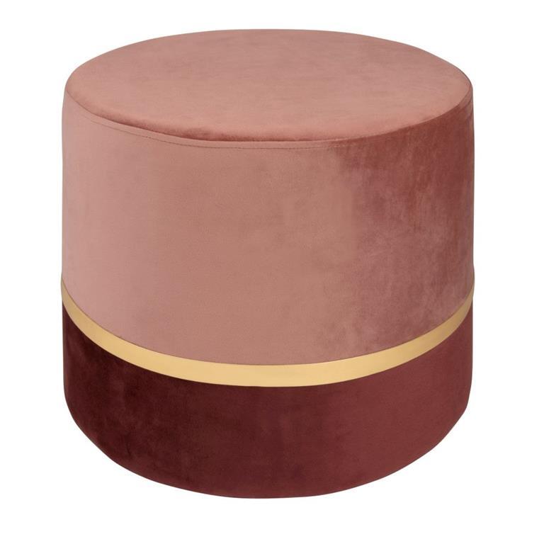 Pouf effet velours rose et doré