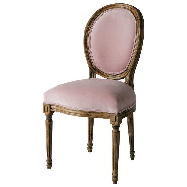 Chaise médaillon en velours rose Louis