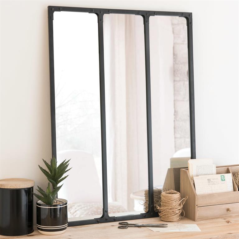 Miroir triptyque en métal noir 60x80 Maisons du monde