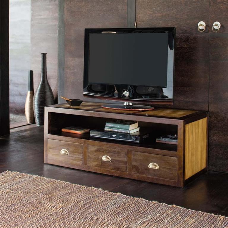 Meuble TV en teck massif et bambou L 120 cm Bamboo