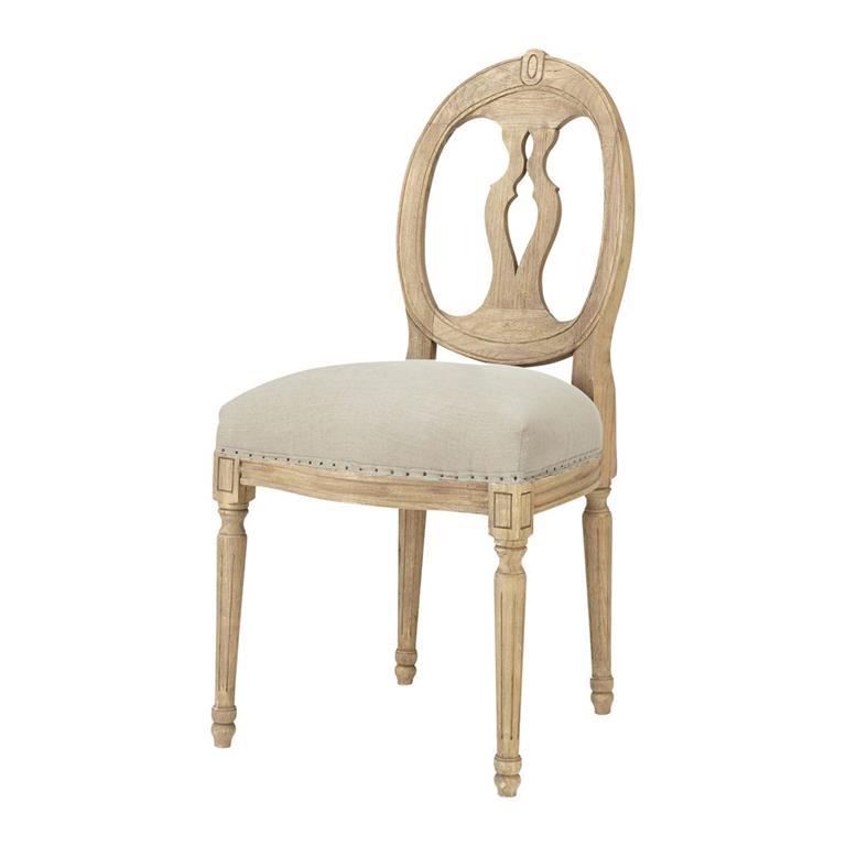 Chaise médaillon en lin et chêne massif Héloise